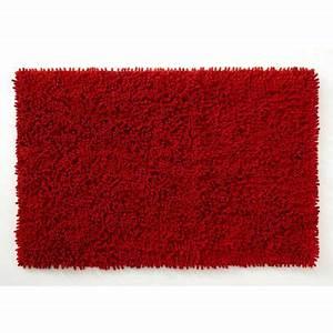 tapis de salle de bains rouge 80 x 50 cm anemone castorama With tapis salle de bain rouge