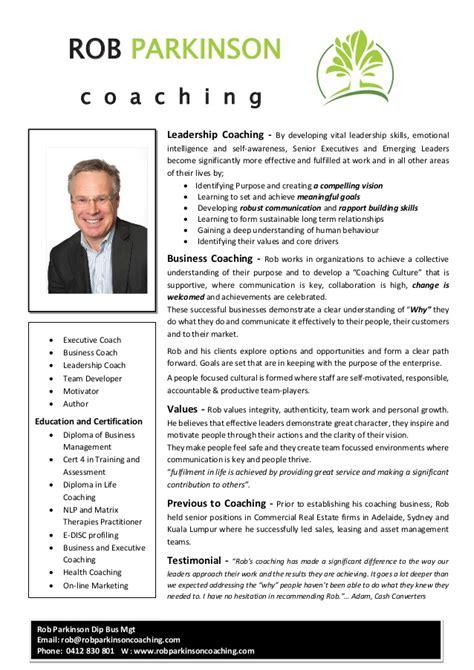 Trainer Profile Sle by Professional Profile Rob Parkinson Leadership Coach Sept