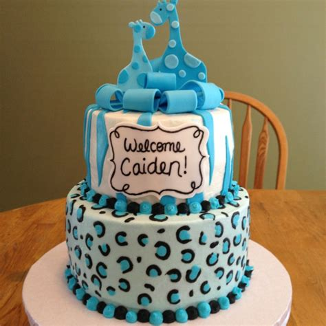 baby shower cake   boy buttercream cheetah print