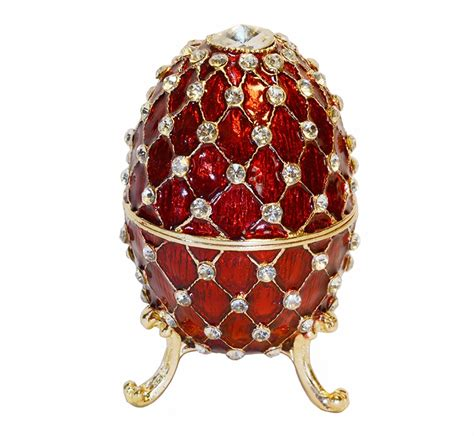 shipping big jewelry box red bejeweled faberge color