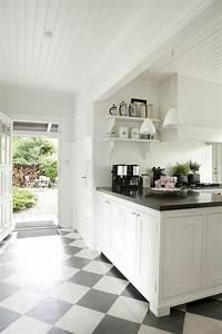cuisine contemporaine blanche comment creer la cuisine With cuisine blanche sol noir