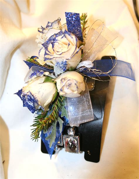 to be corsage prom formal corsage white roses royal blue glitter my