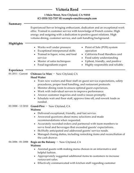 example of restaurant resume server resume example restaurant bar sample resumes