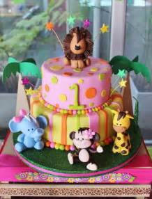 Baby Jungle Animal Birthday Cake