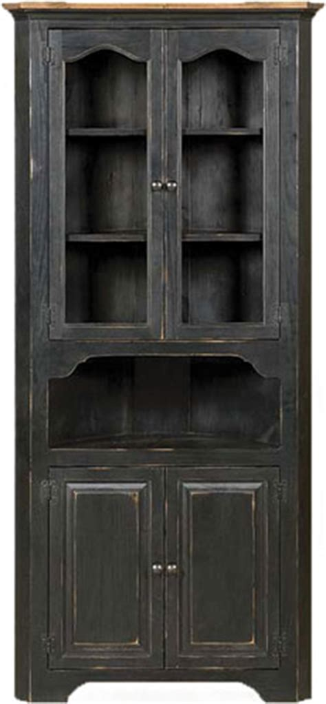 Black Corner Cupboard by Colonial Pine Large Corner Cupboard With Glass Cabinets