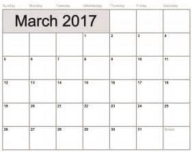 March 2017 Calendar Template Word