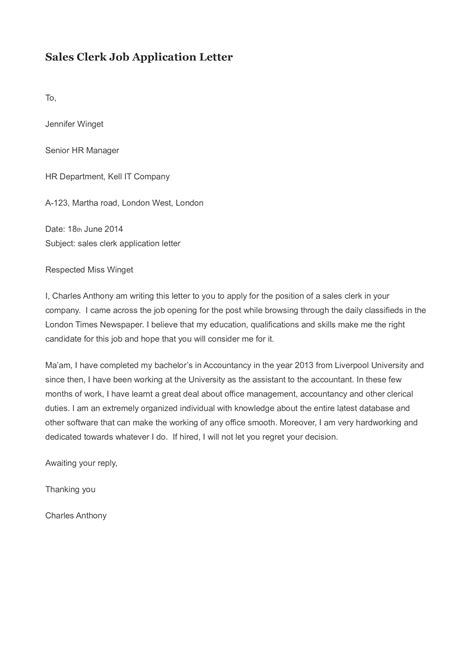 Application Letter For Sle by Free Sales Clerk Application Letter Templates At