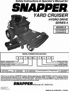 Snapper Yz16424bve Yz20484bve Users Manual 6 3260d R1