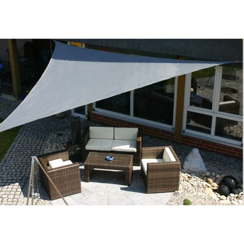 photo voile d ombrage parasol ombrage voile d ombrage toile solaire triangle 3x3x3 gris jardin toile