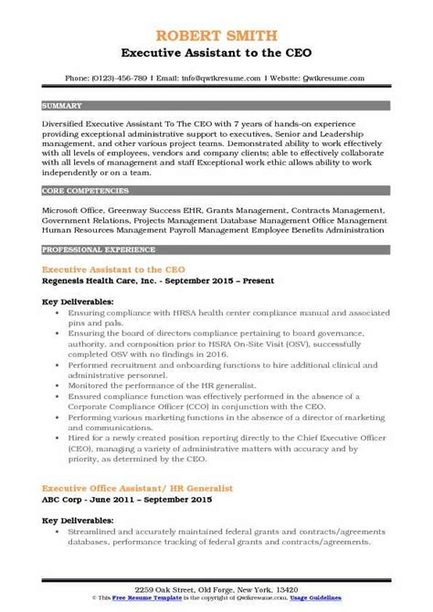 executive assistant   ceo resume samples qwikresume