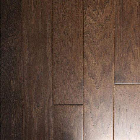 hickory solid hardwood flooring wire brushed black bison hickory 3 4 in t x 3 1 4 in w x random length solid hardwood flooring