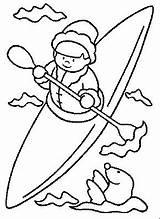 Coloring Pages Kayak Canoe Print Inuit Template Printable Getcolorings Eskimo Disney sketch template