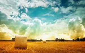 Gorgeous Clouds Over A Hay Field