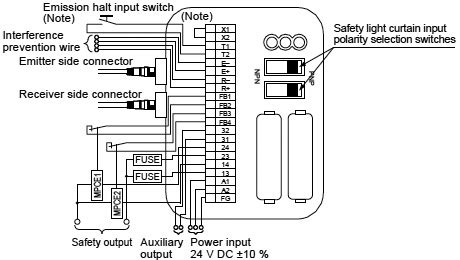 exclusive unit for safety light curtain sf c10 i o circuit and wiring diagrams