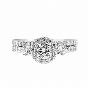 past present future 3 cz bridal wedding engagement ring With past present future ring with wedding band