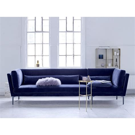 canap velours canapé 3 places velours bleu rox bloomingville