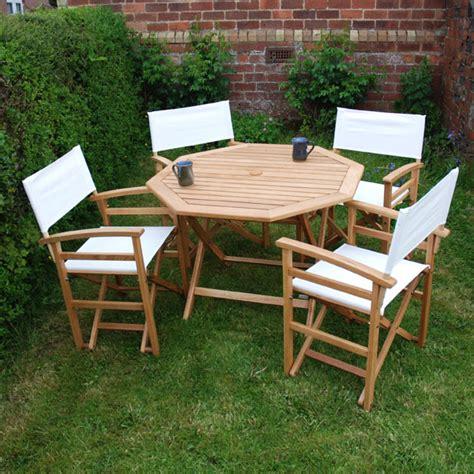 white oak 4 seater directors chair garden set on sale