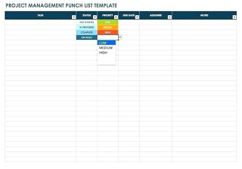 Project Management Contact List Template
