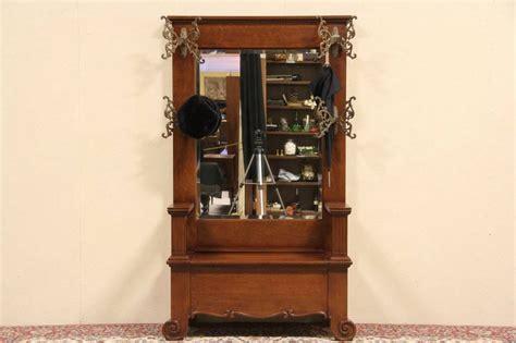 sold victorian antique  oak hall stand  bench mirror hooks harp gallery antique