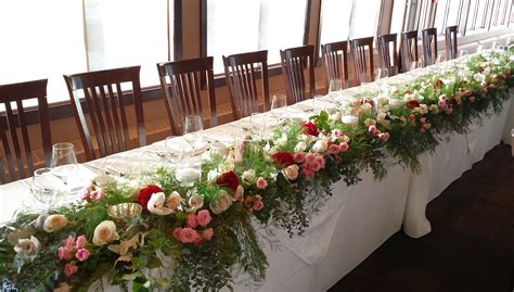 wedding reception head table flowers dahlia floral