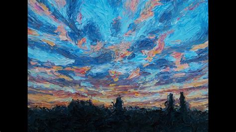 Palette Knife Demonstration On Painting A Sunset Impasto