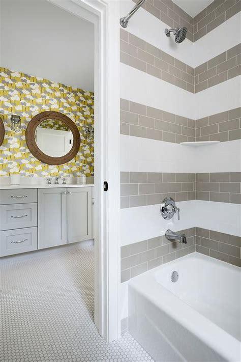 white penny tile bathroom floor  light gray grout