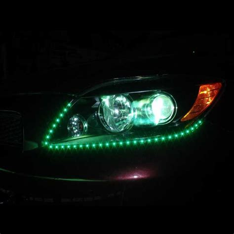 led headlight strips green car truck kit 2 bright led
