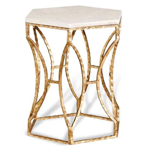gold and marble end table roja antique gold leaf cream marble hexagonal side table