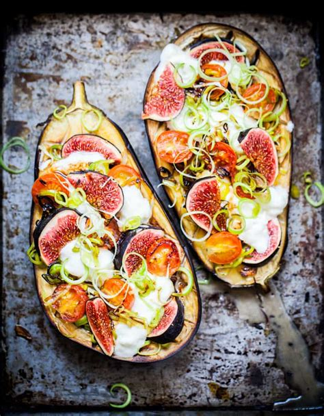 baked eggplant  california figs leeks recipe
