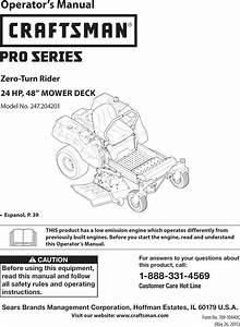 Craftsman 247204201 1505439l User Manual Zero Turn Riding