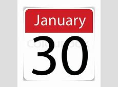 Simple Calendar Date January 30th, vector illustration