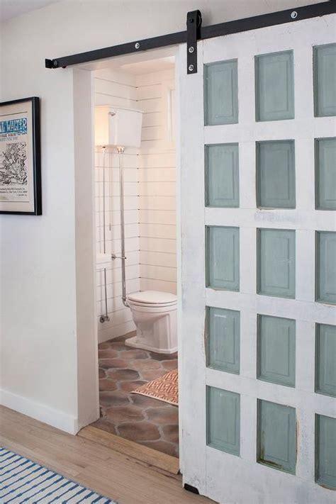 distressed barn door powder room with distressed barn door vintage bathroom