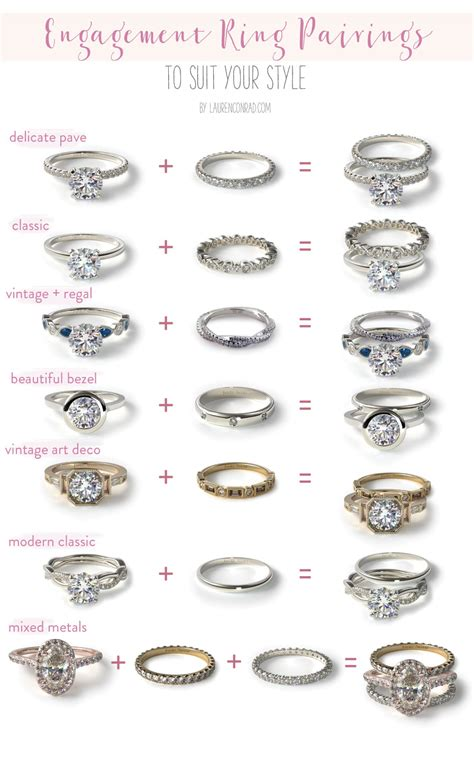 wedding ring band types wedding bells our favorite engagement ring wedding band pairings conrad