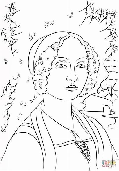 Vinci Leonardo Coloring Ginevra Benci Portrait Colorir