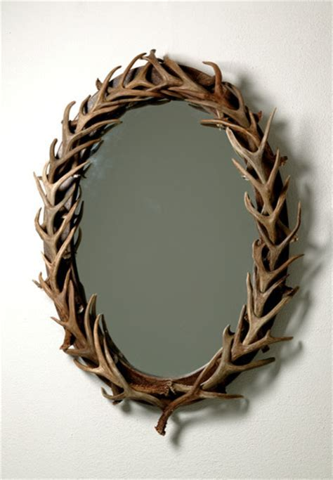 Oval Antler Mirror, Large   Eclectic   Wall Mirrors   by