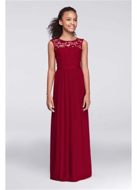 cap sleeve lace  mesh long girls dress davids bridal