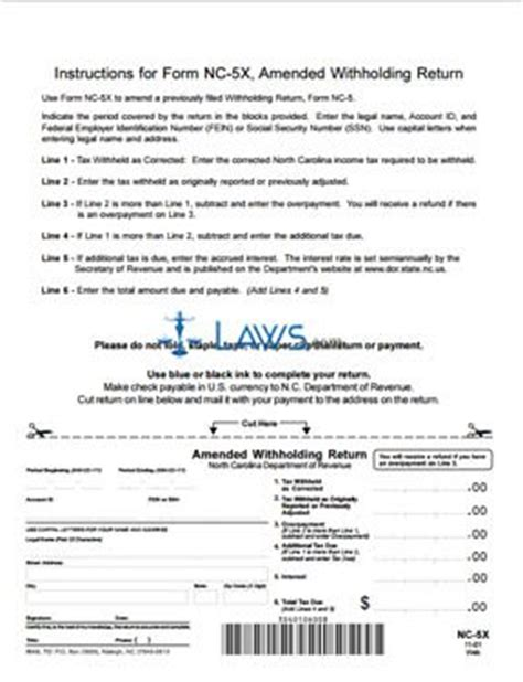 north carolina legal name change form form nc 5x amended withholding return north carolina