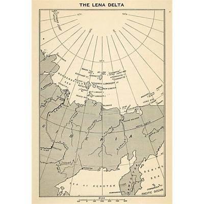 1907 Wood Engraving Lena Delta Wildlife Reserve Nature Map