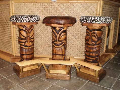 Tiki Bar Furniture handmade custom tiki bar stools for business by belly up