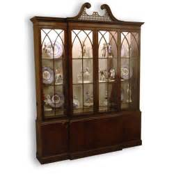 vintage baker mahogany breakfront china cabinet from