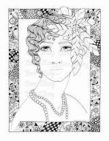 Coloring Pages Flapper Adult Flappers Colour sketch template