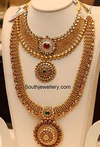 jewellery design antique gold necklace and haram set jewellery designs