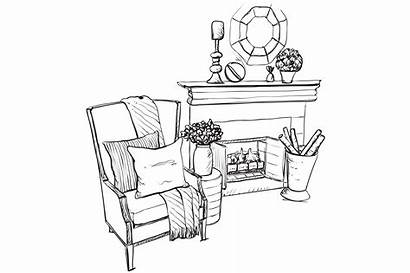 Fireplace Sketch Interior Dividers Enhancers Drawing