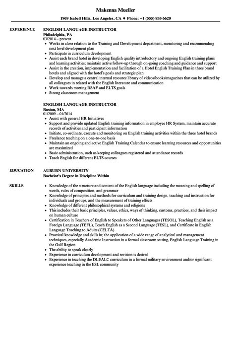 Resume Language by Language Instructor Resume Sles Velvet