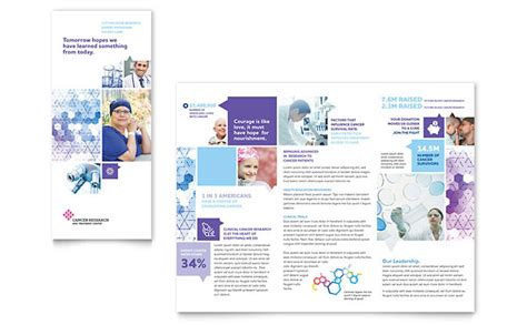cancer treatment tri fold brochure template design