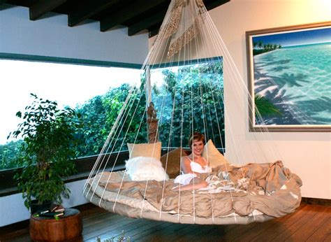 indoor floating bed hammock interior design ideas