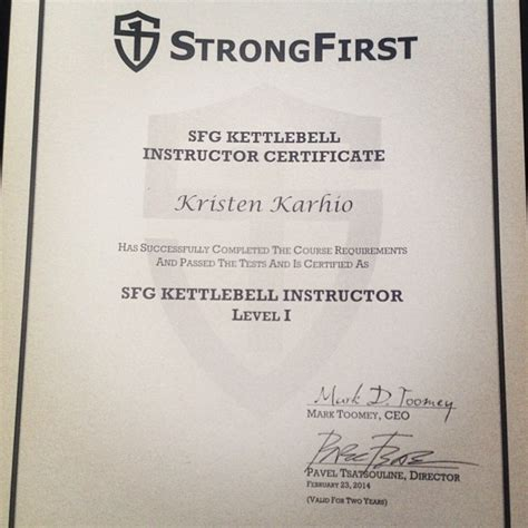 sfg kettlebell instructor strongfirst