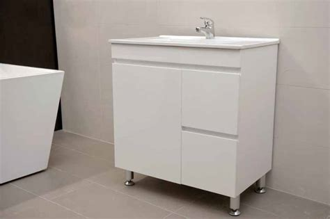 metal leg bathroom vanity artemis fwpl750r 750mm polyurethane bathroom vanity with ceramic basin and finger pull on metal