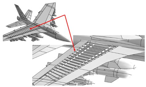 Geometric Model Of A Fictitious Fighter Jet. Enlarged Wing