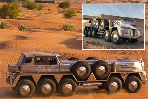 sheikh builds ridiculous  wheel hybrid truck   jeep wrangler  giant military vehicle